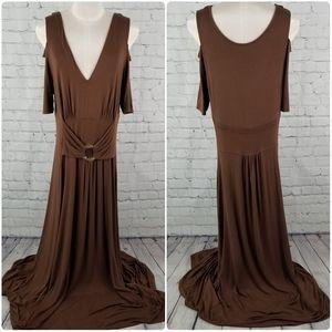 LIZ LANGE | v-neck cold shoulder maxi dress